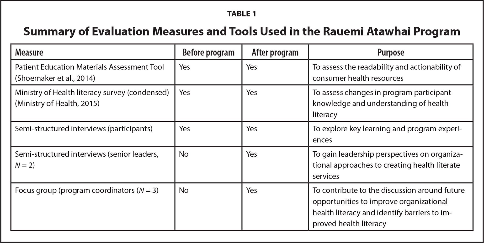 Summary of Evaluation Measures and Tools Used in the Rauemi Atawhai Program