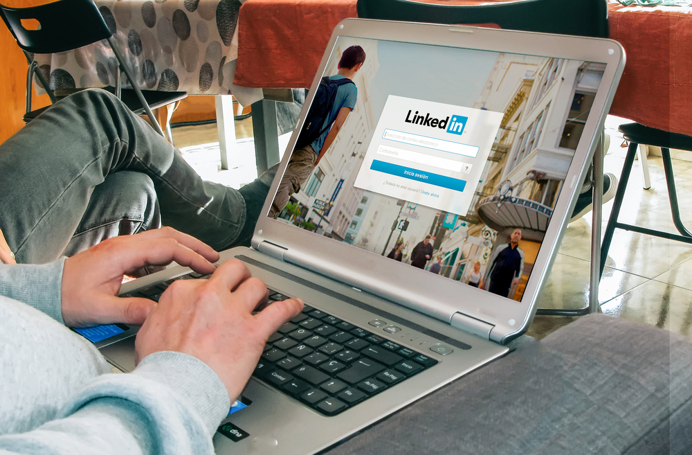 Shutterstock_555157105 BARCELONA, SPAIN - MARCH 27, 2016: LinkedIn login page in a laptop screen. LinkedIn is a business and employment-oriented social networking service that operates via websites.